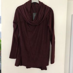 Two Gibson cowl neck sweaters, burgundy and black